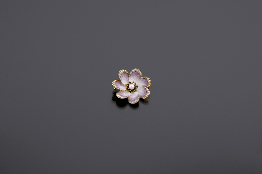 Jewels - Enamelled flower brooch