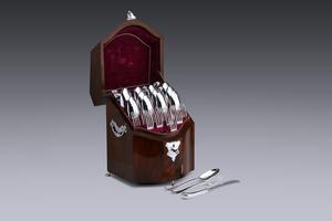 Silver - Cutlery box Johan Pieter Geurts