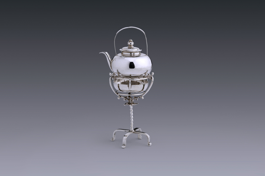 Miniatures - Miniature kettle on tall tripod stand maker's mark  a bunch of grapes