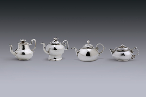 Miniatures - Four teapots Arnoldus van Geffen