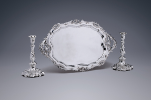 Silver - An Exceptional Tray and Superb Candlesticks  Johannes Schiotling