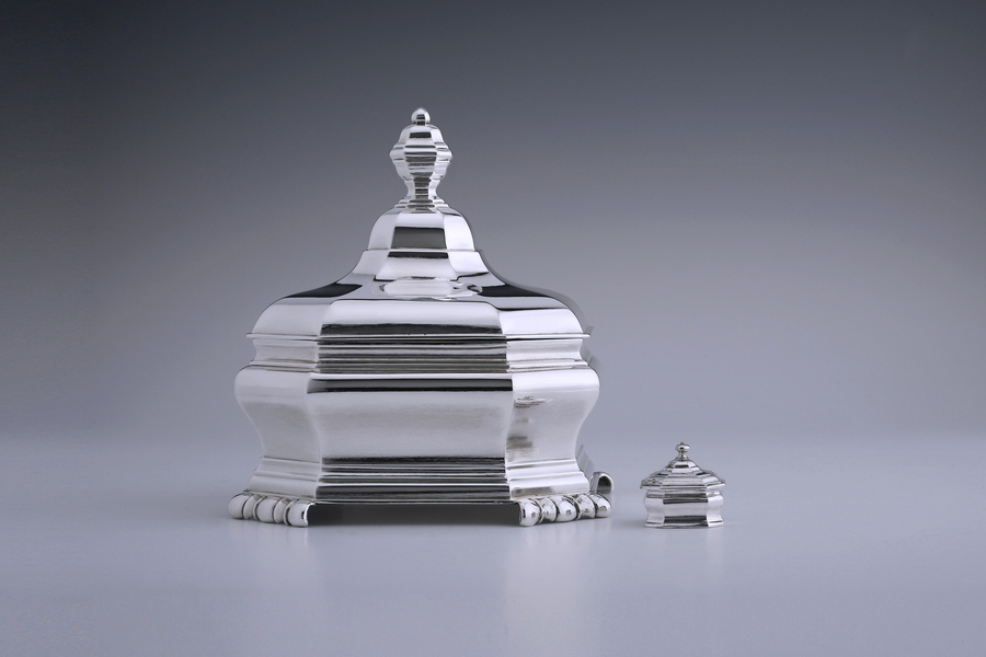 Silver - A Fine, Elegant Tobacco Jar and its miniature version Bartholomeus van der Toorn