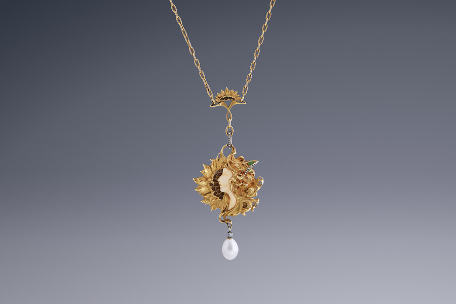 Jewels - Art Nouveau Sunflower Pendant Leopold Gautrait