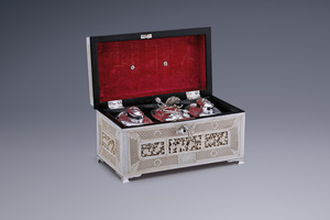 Silver - Tea Chest with Three Silver Tea Caddies Dirk van de Goorberg