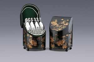 Silver - A Pair of Lacquerware Cutlery Boxes with table silver Valentijn Caspar Bömcke