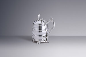 Silver - A Nijmegen Mustard Pot in the Shape of a Barrel Willem Schiff