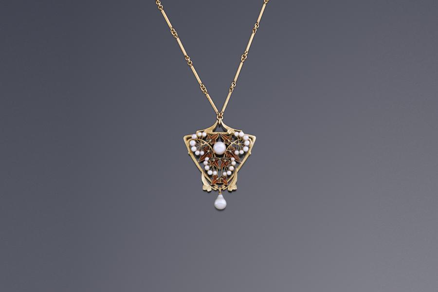 Jewels - Lucien Gaillard Art Nouveau Pendant 'Ivy' Lucien Gaillard