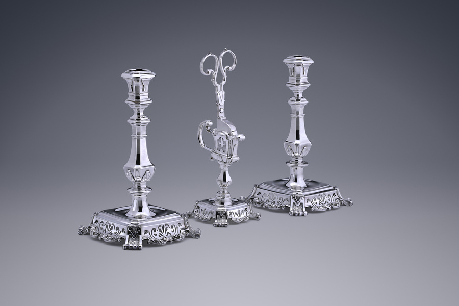 Silver - A Set of Candlesticks with a Pair of Snuffers Francois Lambregts