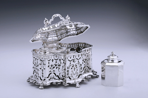 Silver - Tea Chest with Four Silver Tea Caddies Francois Lambregts